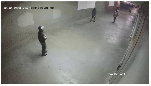 Individual captured on surveillance video at shopping center where fire occurred in Tulsa, Oklahoma.