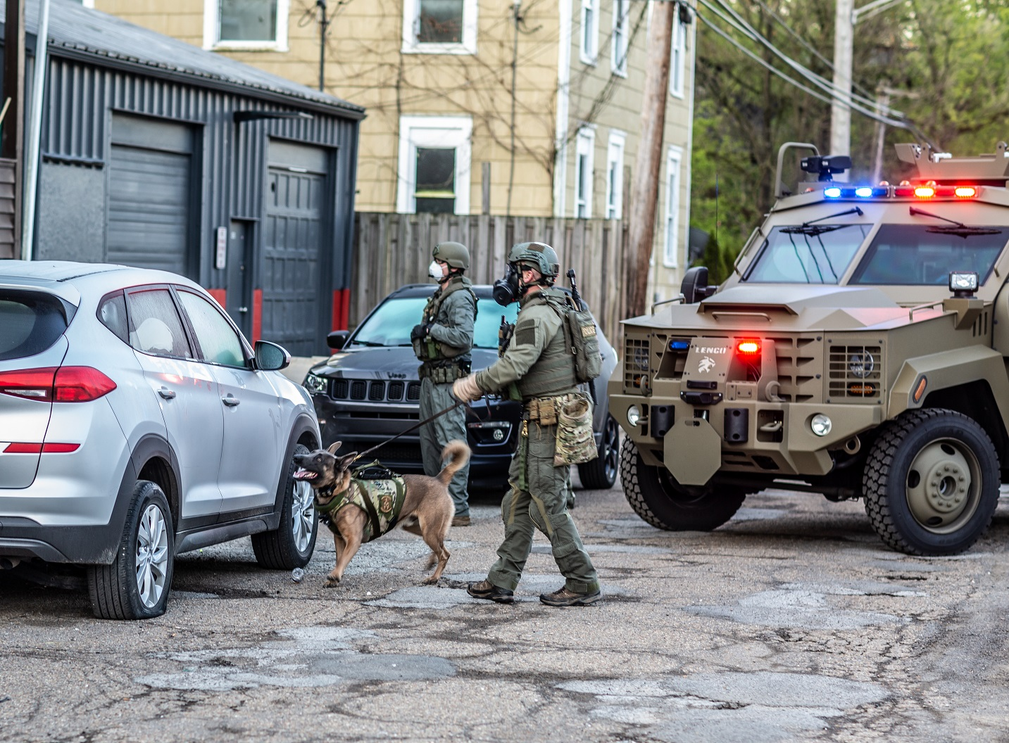 An ATF Special Response Team and canine handler during a warrant service operation.
