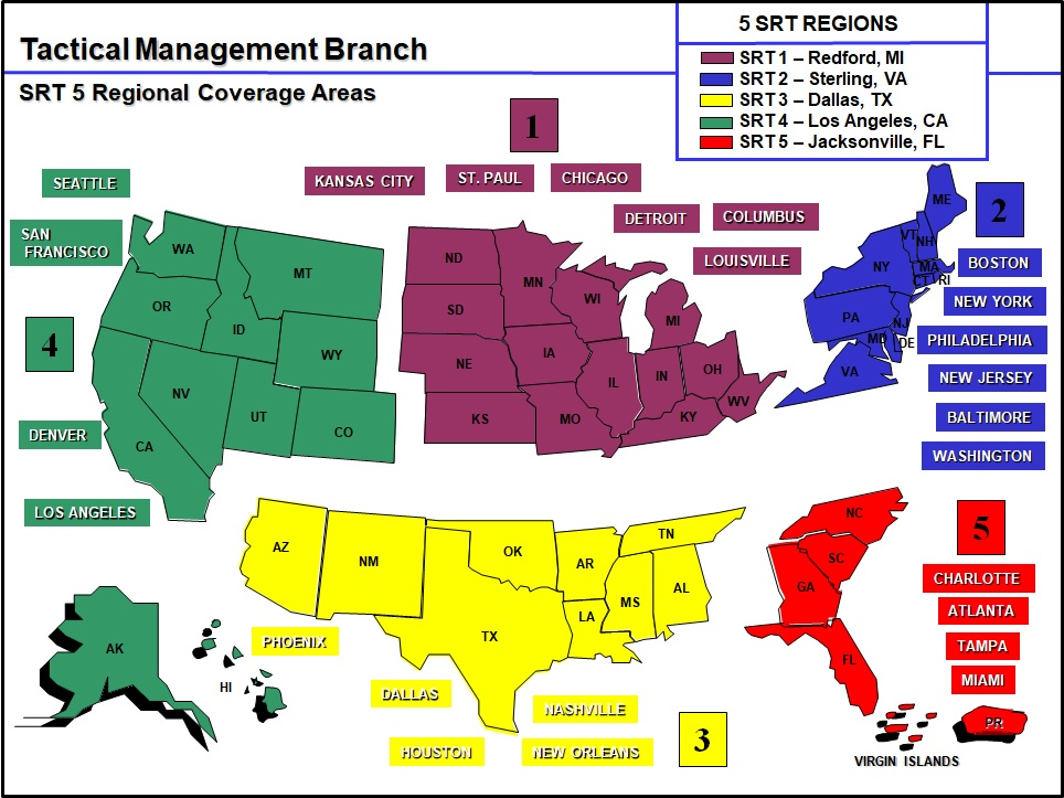 ATF Special Response Team Regional Map