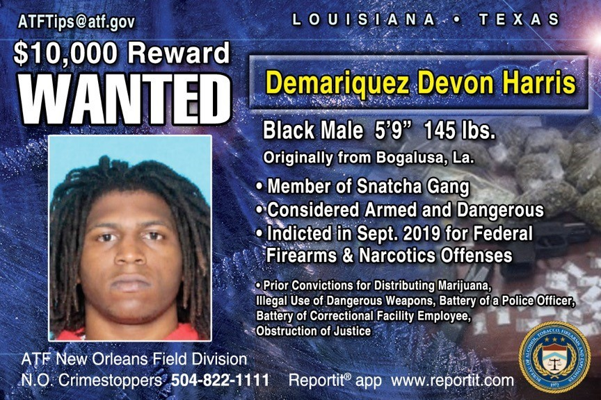 """Wanted Poster: Demariquez Devon Harris, Black Male, 5'9"""", 145 lbs., Member of Snatcha Gang, Considered armed and dangerous"""