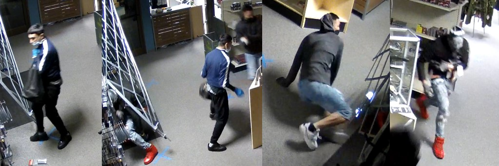 Suspects wanted for Triple J Armory burglary - 3 suspects; one with blue jean shorts and grey hoodie, one with blue and white track jacket and black pants, another with Red shoes, gray jeans, and a black jacket