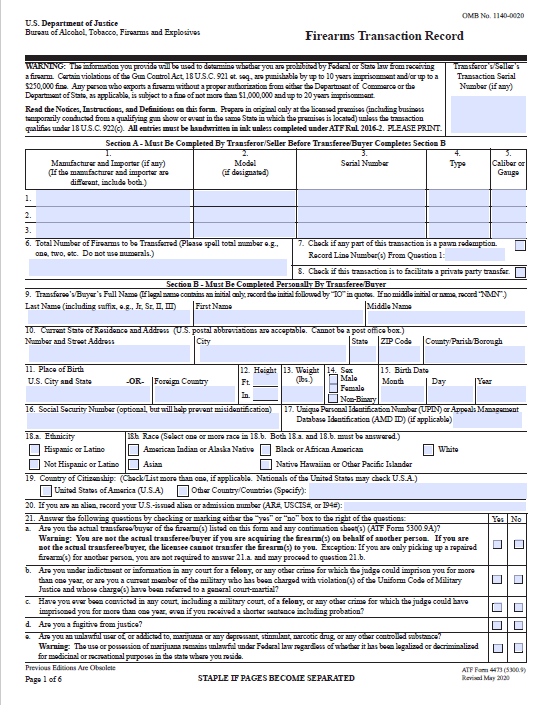 Updated ATF Form 4473