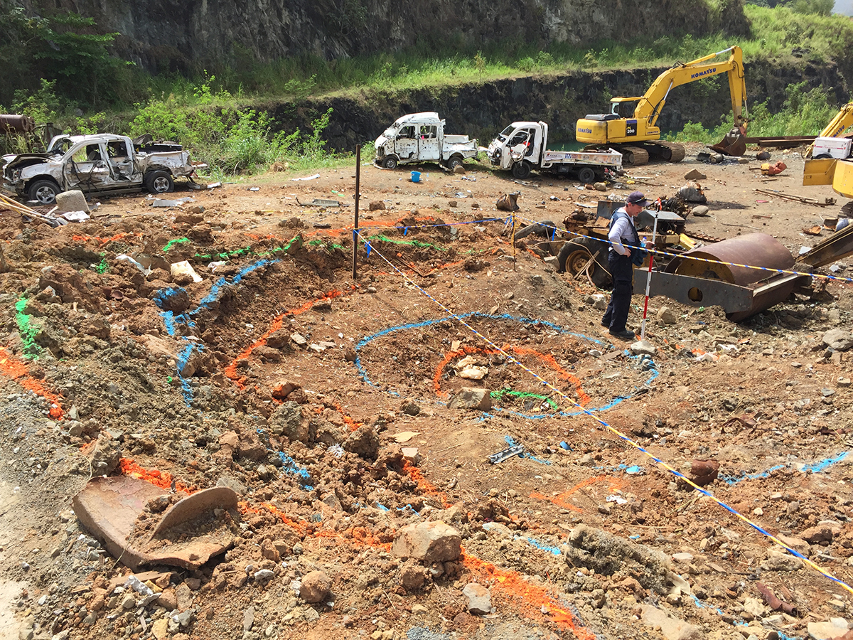 ATF's International Response Team processed the blast crater at fatal explosion scene at the RG Quarry in St. Thomas, Virgin Islands