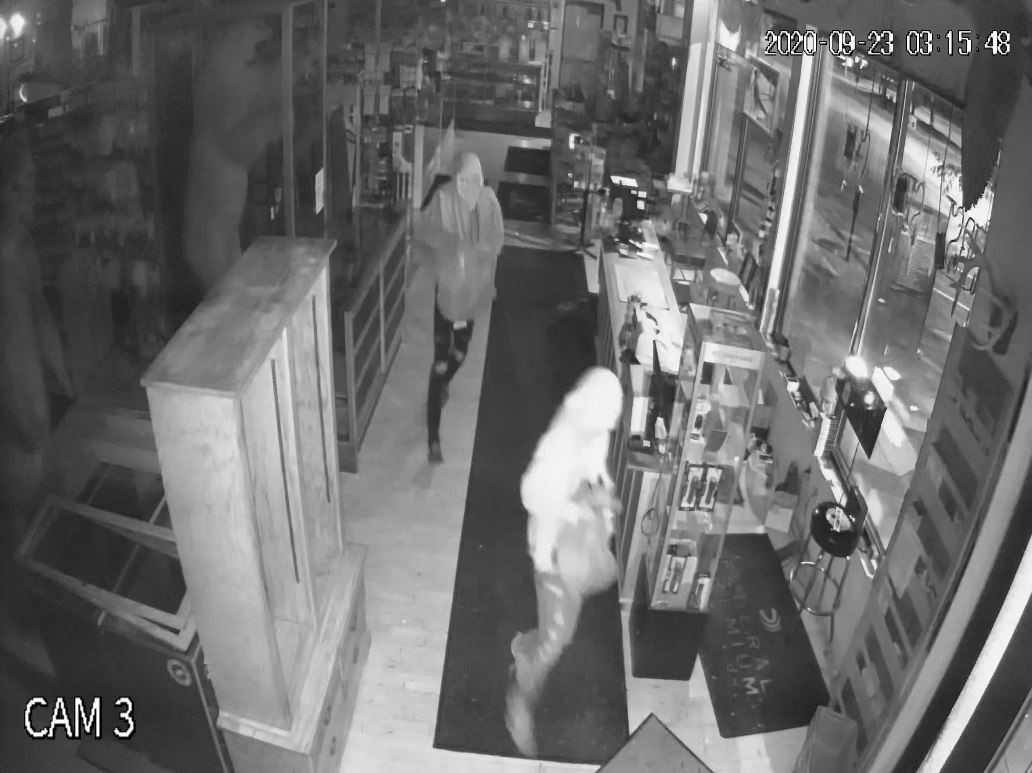 Still-frame of surveillance footage captured during the break-in at First Stop Gun & Coin, Sept. 23.