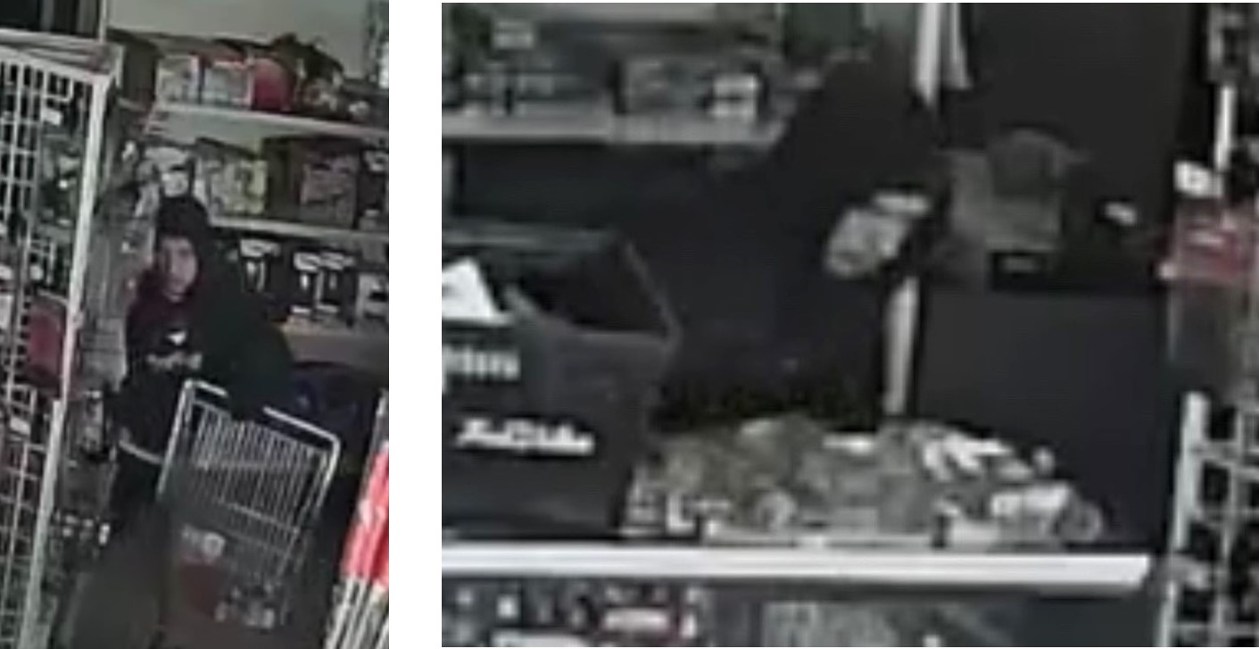 Surveillance footage of suspect in hoodie in LaCroix's True Value.