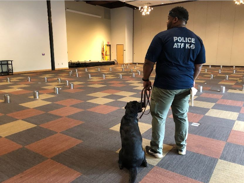 Special Agent Canine Handler and his K-9 prepare for training drills