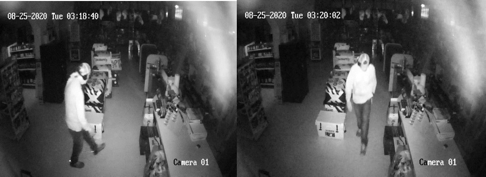 Surveillance camera footage of suspects in the Rough Country Outdoor Gear burglary.