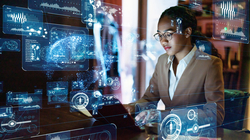 Intelligence Research Specialist working on digital files