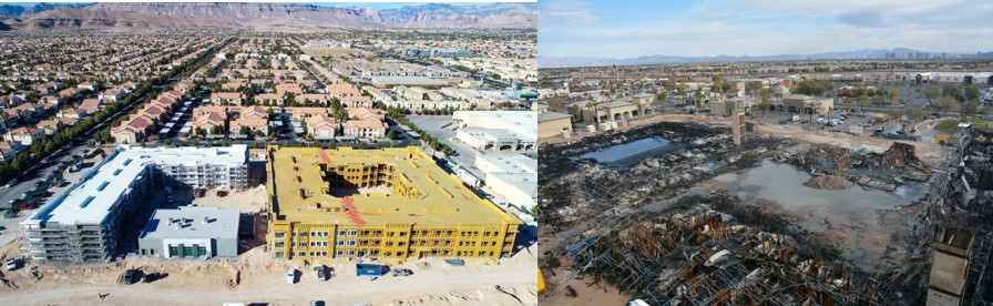 Side by side comparison of before and after the arson that left buildings being constructed damaged.