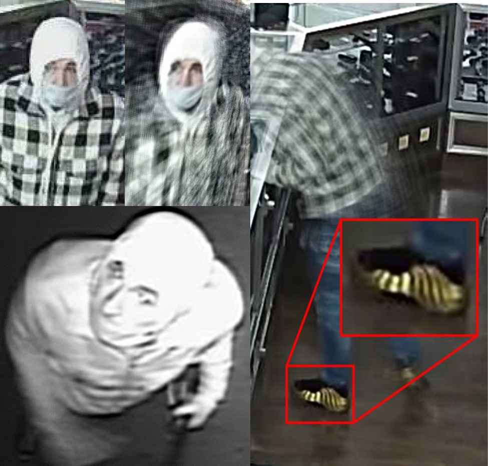 Male suspect, fair skinned, wearing a mask, white hoodie, black and white checkered shirt, and gold Nike foamposites.