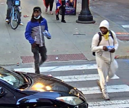 Suspect #2 wears a blue/black striped jacket, and Suspect #3 a white hoodie.
