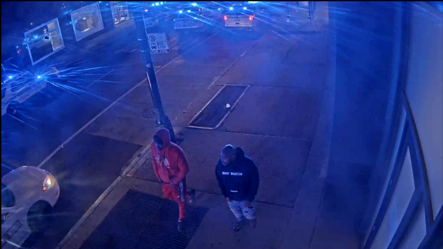Suspect #6 is a male in a red hoodie, and Suspect #7 is a male in a black hoodie with white lettering.