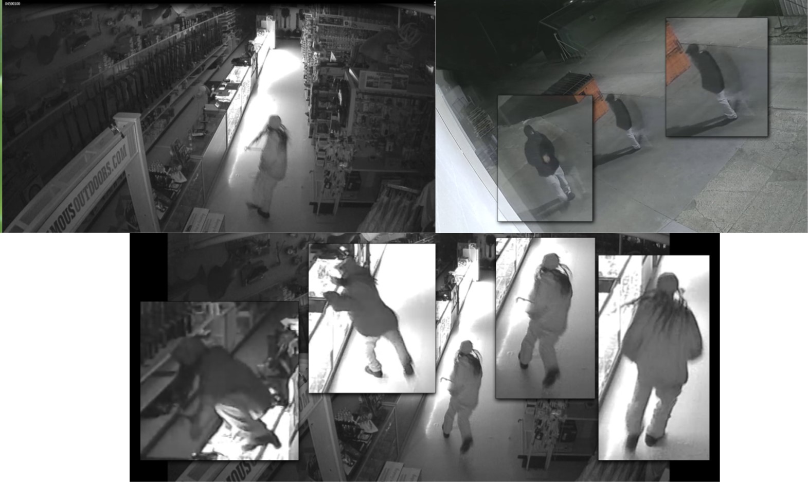 Unknown suspect, wearing a white jacket and pants, black shoes and long hair