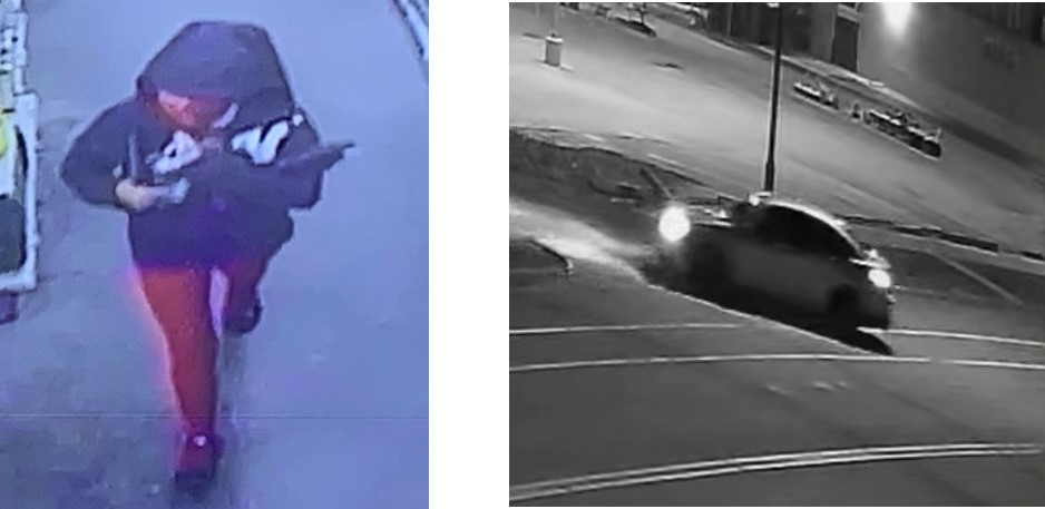 Left Image: Suspect in black hooded jacked wearing red pants. Right image: Black and white security image of a car turning right into parking lot.