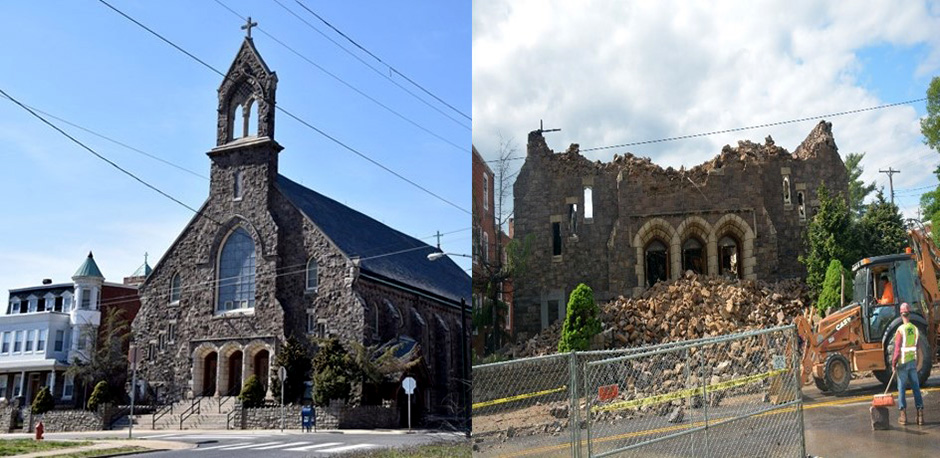 St. Leo's Church before (left) and after (right) the fire.