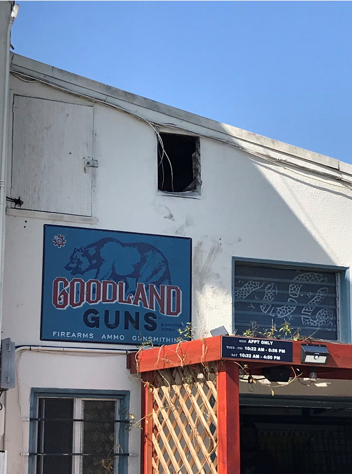 The hole in the wall where the suspect(s) entered into Goodland Guns.