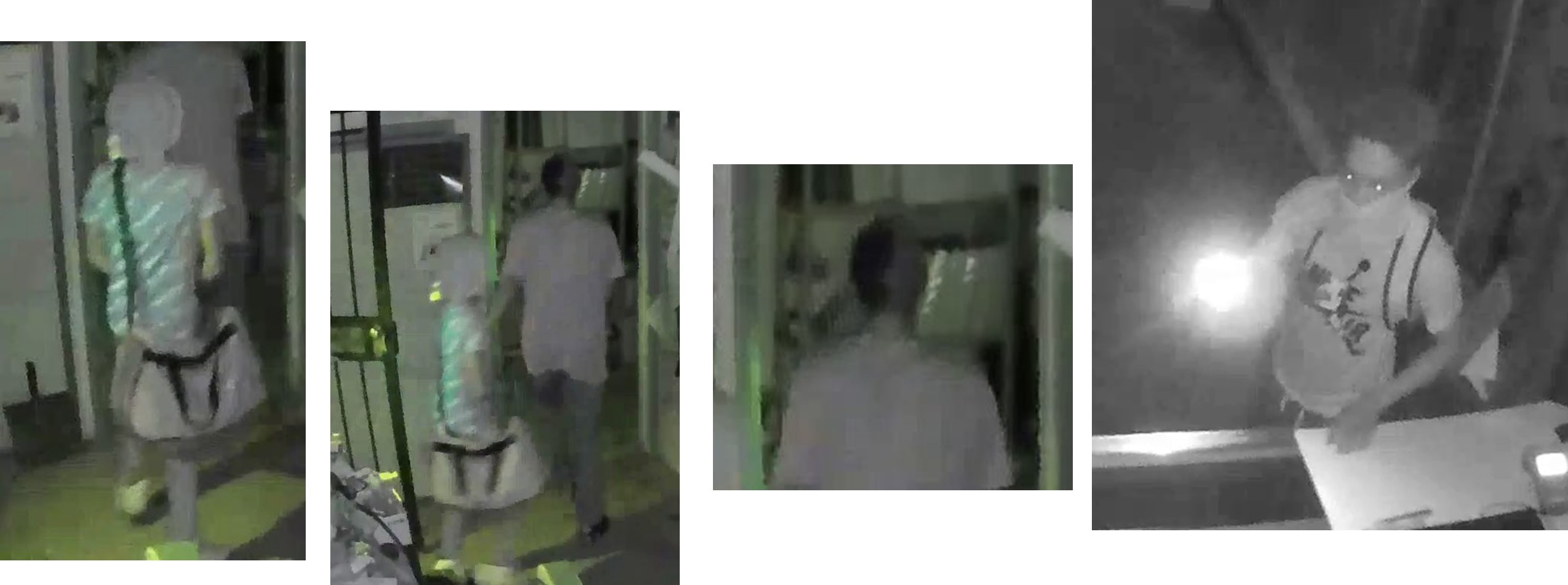 Four images of three suspects entering the Panther City Firearms premises.