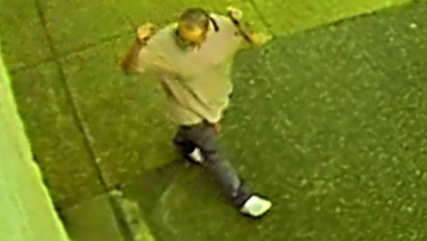 Top view of male suspect in gray polo shirt, dark pants and white shoes