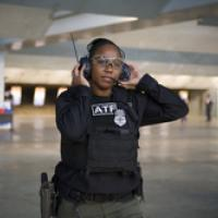 Firearms instructor Misty Waytes at work
