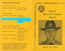 Image of the Narcotic Enforcement Officers Associations Annual Robert Stankye Awards ceremony program highlighting Agent Rios as a recipient of a posthumous award.