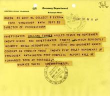 Image of telegram regarding the death of Investigator Ballard Tuner