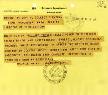 Image of telegram regarding the death of Investigator Ballard Tuner