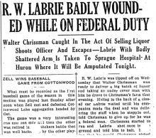 Image of a newspaper article with headline R W Labrie Badly Wounded While on Federal Duty