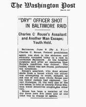 Image of the Washington Post newspaper article, dated June 8, 1927, titled Dry Officer Shot in Baltimore Raid