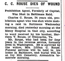 Image of a newspaper article with headline, C C Rouse Dies of Wound