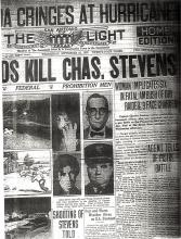 Image of newspaper article with headline, Wounds Kill Charles Stevens (Page 2 of 2)