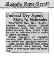 Image of newspaper article in Modesto News-Herald with headline: Federal Dry Agent Slain in Nebraska