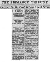 Image of newspaper article in The Bismarck Tribune, with headline Former N.D. Prohibition Agent Slain