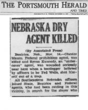 Image of newspaper article in The Portsmouth Hearld and Times, with headline: Nebraska Dry Agent Killed