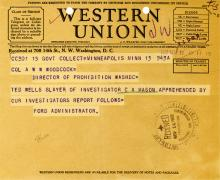 Image of telegraph regarding the apprehension of Ted Wells, slayer of Investigator Mason