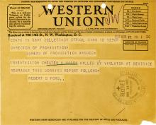 Image of telegram regarding the death of Investigator Chester Mason