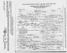 Death Certificate - Image of Curtis Burk death certificate