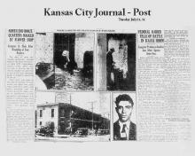 Newspaper - Article from Kansas City Journal, dated July 21, 1931 - Federal Raider Tells of Battle in Dark Room