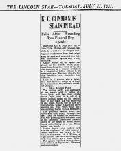 Newspaper - Image of newspaper article from The Lincoln Star, dated July 21, 1931 with the headline K.C. Gunman is Slain in Raid