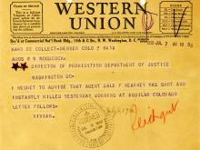Image of a telegram regarding the death of Dale F. Kearney
