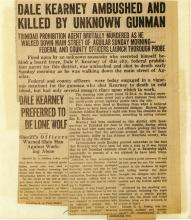 Image of the newspaper article with the headline, Dale Kearney Ambushed and Killed by Unknown Gunman