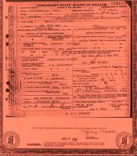 Death Certificate of Daniel Cleveland