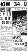 Image of newspaper article with headline: Posse Hunts Slayer of Seattle Dry Law Agent