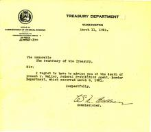 Death Letter from the Treasury Department - Earnest Walter Walker