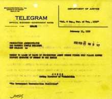 Image of telegram regarding death of Eugene Pearce