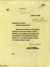 Image of Memorandum to Assistant Attorney General regarding separation of roll