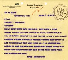 Image of telegram regarding the death of Agent Eguene Pearce