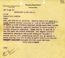 Image of telgram regarding the accidental shooting of Eugene Pearce