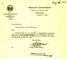 Image of a telegram regarding the death of George Nantz Jr.