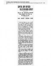 Image of the Washington Post newspaper article, dated January 15, 1927, titled Capital Dry Officer Killed in New Jersey