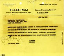 Image of telegram regarding the death of Harry Elliot